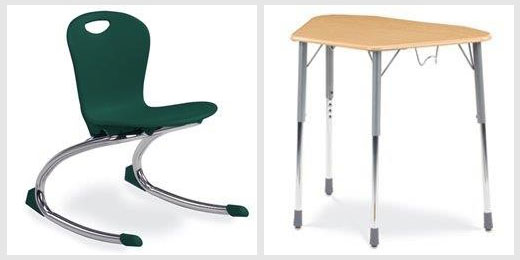 classroom chairs and tables
